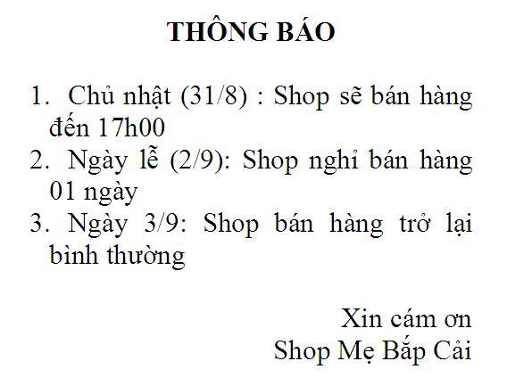 THÔNG BÁO: Shop MBC Nghỉ lễ 01 ngày 2/9
