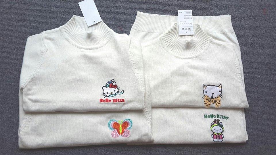 AG174: GIÁ TỐT, 1 ri 7 áo trộn các hình thêu ( tỷ lệ hình thêu bướm là chính )