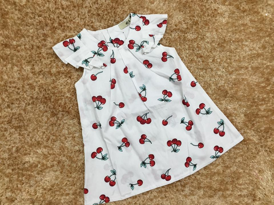 611: GIÁ TỐT. Váy cánh tiên BG KITTY và CHERRY. Chất kate (thô cotton) mềm mát nhẹ. Sz 1 đến 7