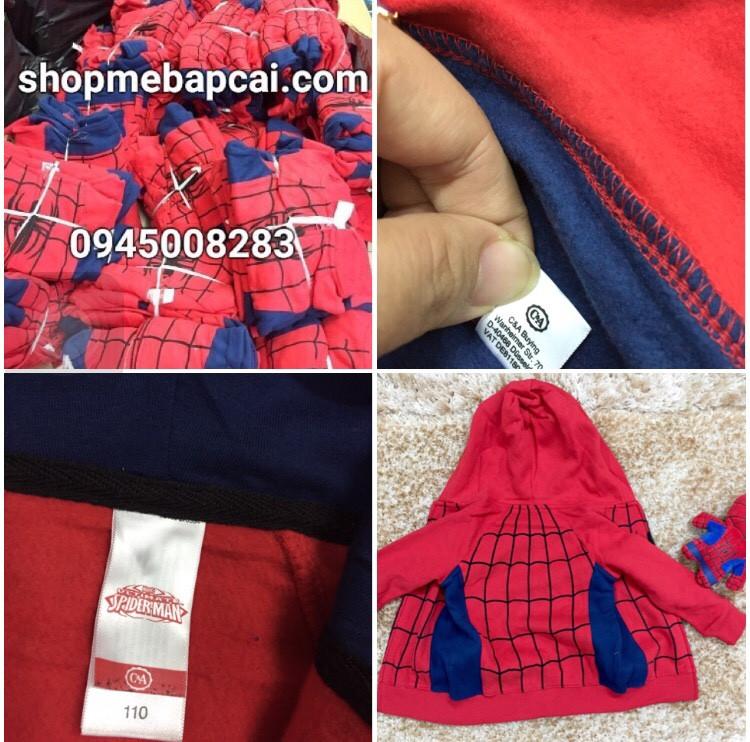 983: Size 92 - 128. 1 ri 12 áo trộn size. 1 màu đỏ duy nhất đặc trưng - QUÁ HOT HIT - Kéo khóa, mũ có mắt nhện nhá