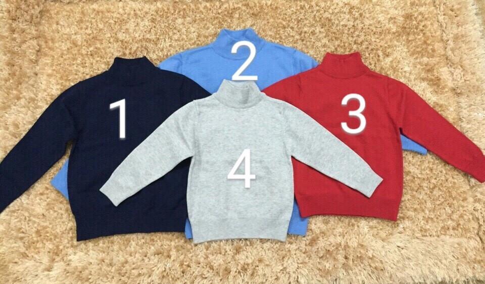 1835: ÁO LEN CỔ 5F BT màu trơn  - Sz 2 - 6t. 1 ri 5 là 1 màu. Khách chọn màu 1 2 3 4 - Made in Vietnam.